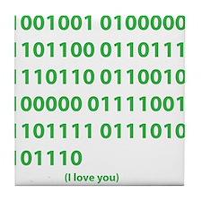 I LOVE YOU in Binary Code Tile Coaster