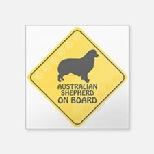 "Australian Shepherd On Board Square Sticker 3"" x 3"