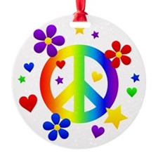 Rainbow Peace Sign Ornament