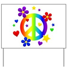 Rainbow Peace Sign Yard Sign