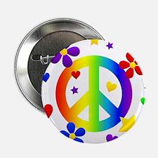 """Rainbow Peace Sign 2.25"""" Button"""