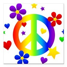 "Rainbow Peace Sign Square Car Magnet 3"" x 3"""
