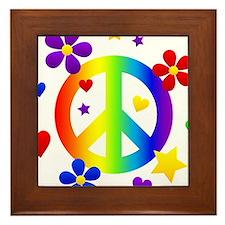 Rainbow Peace Sign Framed Tile