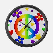Rainbow Peace Sign Large Wall Clock