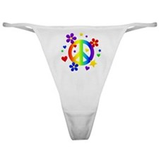 Rainbow Peace Sign Classic Thong