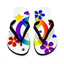 Rainbow Peace Sign Flip Flops