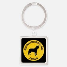 Cattle Dog Person Square Keychain