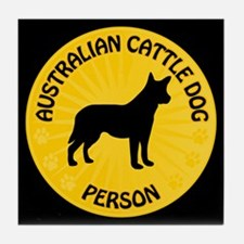 Cattle Dog Person Tile Coaster