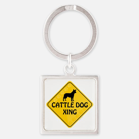 Cattle Dog Xing Square Keychain