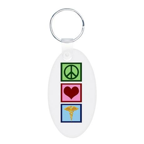 Peace Love Medicine Aluminum Oval Keychain