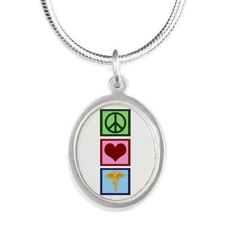 Peace Love Medicine Silver Oval Necklace