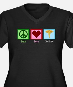 Peace Love Medicine Women's Plus Size V-Neck Dark