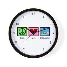 Peace Love Engineering Wall Clock
