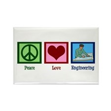 Peace Love Engineering Rectangle Magnet