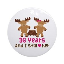 36th Anniversary Moose Ornament (Round)