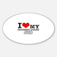 Crossing Guard Job Designs Sticker (Oval)