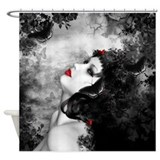 Black_rose Shower Curtains