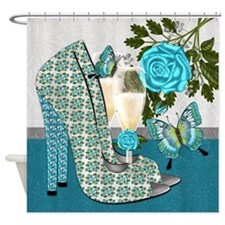 Trendy Peacock Blue Shoe And Rose Shower Curtain