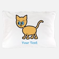 Blue Eyed Ginger Cat, and Text. Pillow Case