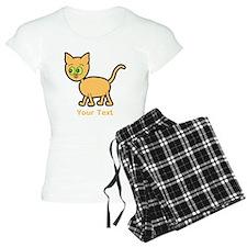 Green Eyed Ginger Cat and Text. Pajamas