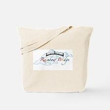 Unique Rainbow bridge white cat Tote Bag
