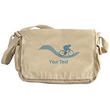 Cyclist in Blue. Custom Text. Messenger Bag