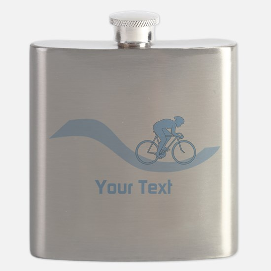 Cyclist in Blue. Custom Text. Flask