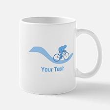 Cyclist in Blue. Custom Text. Mug