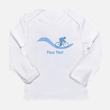 Cyclist in Blue. Custom Text. Long Sleeve T-Shirt