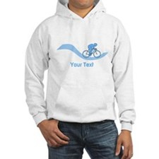 Cyclist in Blue. Custom Text. Hoodie