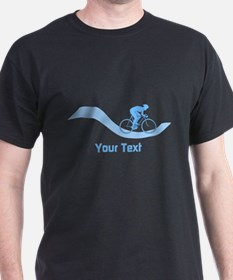 Cyclist in Blue. Custom Text. T-Shirt