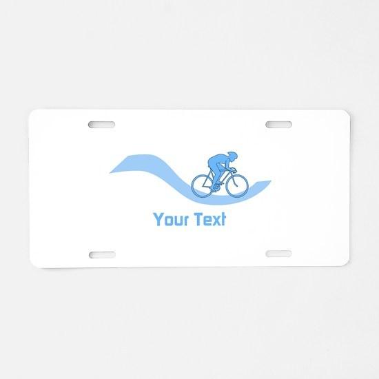Cyclist in Blue. Custom Text. Aluminum License Pla