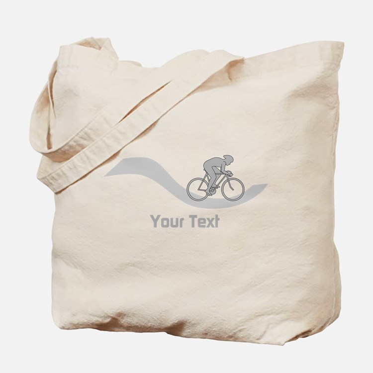 Cyclist in Gray. Custom Text. Tote Bag