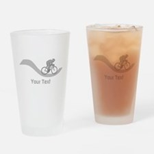 Cyclist in Gray. Custom Text. Drinking Glass