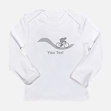 Cyclist in Gray. Custom Text. Long Sleeve T-Shirt