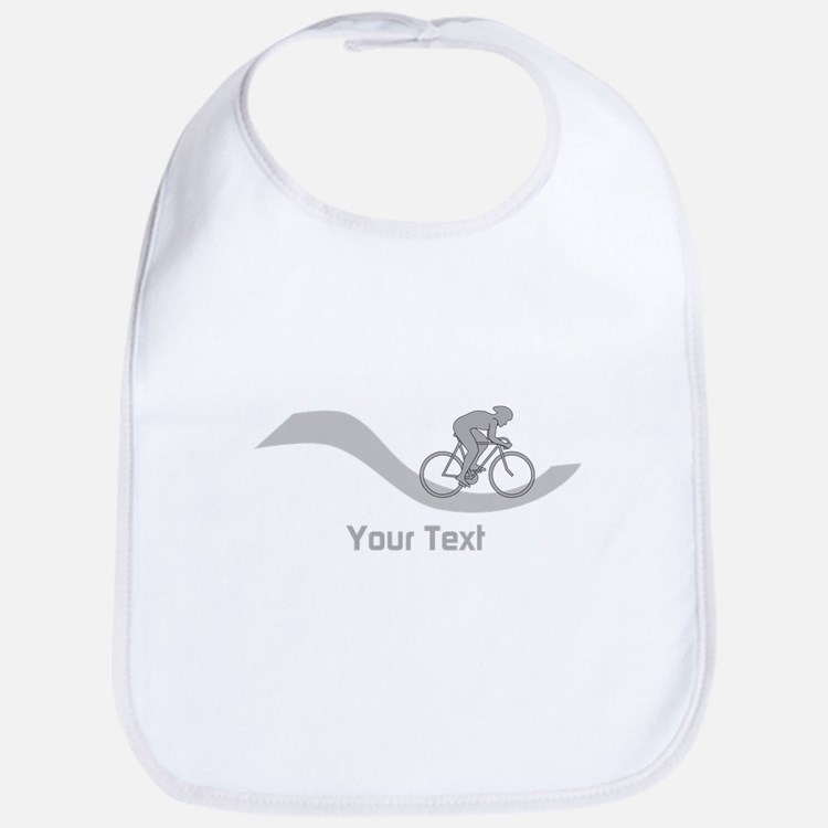 Cyclist in Gray. Custom Text. Bib