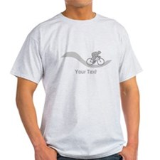 Cyclist in Gray. Custom Text. T-Shirt