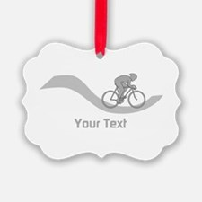 Cyclist in Gray. Custom Text. Ornament