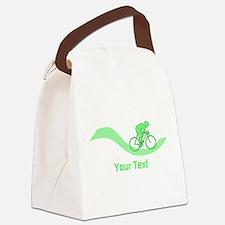 Cyclist in Green. Custom Text. Canvas Lunch Bag