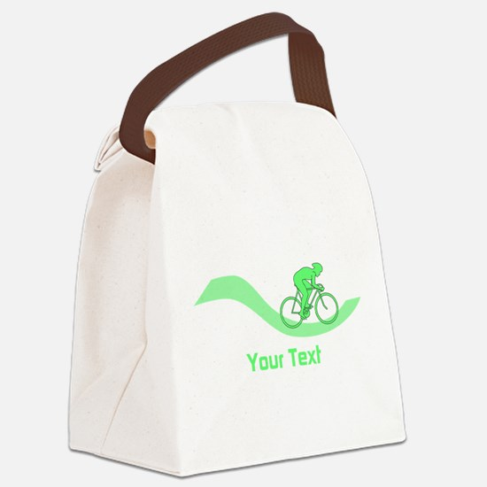 Cyclist in Green. Custom Text. Canvas Lunch Bag