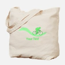 Cyclist in Green. Custom Text. Tote Bag