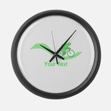 Cyclist in Green. Custom Text. Large Wall Clock
