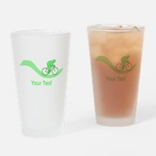 Cyclist in Green. Custom Text. Drinking Glass