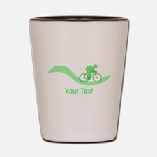 Cyclist in Green. Custom Text. Shot Glass