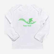 Cyclist in Green. Custom Text. Long Sleeve T-Shirt