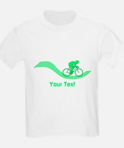 Cyclist in Green. Custom Text. T-Shirt