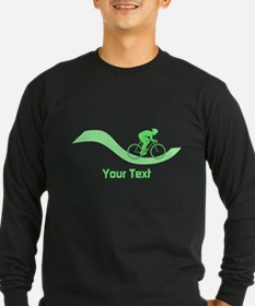 Cyclist in Green. Custom Text. Long Sleeve T-Shirt
