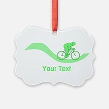 Cyclist in Green. Custom Text. Ornament