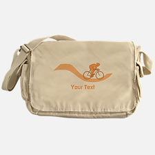 Cyclist in Orange. Custom Text. Messenger Bag