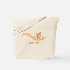 Cyclist in Orange. Custom Text. Tote Bag